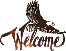 "Laser Cut Art ~ 20"" Winged Eagle Welcome Sign"