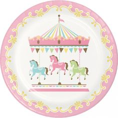 Shop for Pink Carousel Birthday Supplies! Find carousel birthday decorations, party favors, birthday carousel party ideas, and more. Party Plates, Party Tableware, Dinner Plates, Dessert Plates, Carousel Birthday Parties, Carousel Party, Girl Horse Party, Baby Shower Plates, Sparkle Party