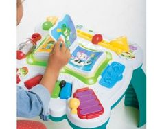 The Leapfrog Learn and Groove Musical Table turns up the sounds of learning fun. Children can choose between dance and discovery with a music mode that introduces songs and sounds of instruments, and a learning mode that teaches basic shapes, colors and more.Press, slide, pull and spin colorful instruments and shapes to activate a variety of learning responses.