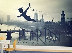 Peter Pan Wall Mural in Black and White, Neverland Wallpaper, Wall décor, Wall decal, Nursery and room décor, Wall art