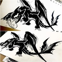 Fantasy Creatures, Mythical Creatures, Venom Dragon, Croque Mou, Toothless Drawing, Teeth Drawing, Night Fury Dragon, Hybrid Art, Magnificent Beasts
