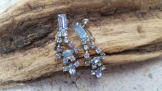 Baby blue rhinestone emerald cut drop chandelier silver screw back earrings vintage