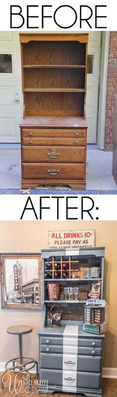 Hometalk :: Childhood Dresser Turned Wine Bar Transformation
