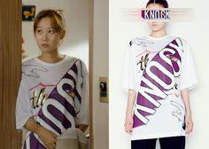 "Gong Hyo-Jin 공효진 in ""It's Okay, That's Love"" Episode 7.  Juun.J Big Knock Printed T-Shirt  #Kdrama #ItsOkayThatsLove 괜찮아, 사랑이야 #GongHyoJin"