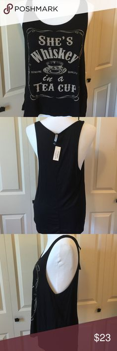 She's Whiskey in a Teacup Tank. NWT 95% rayon 5% spandex Boutique Tops Tank Tops