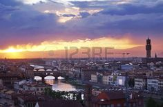 View of Florence at sunset, Italy
