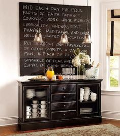 Love chalkboards as a feature wall. Thinking about doing this in my dining room.