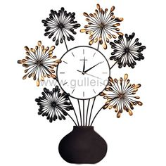 Large Flowers Vase Shaped Decorative Wall Clock