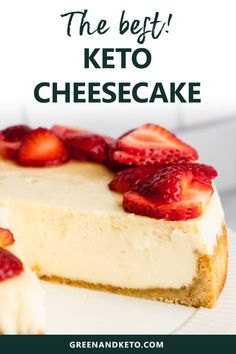 The best simple recipe for keto cheesecake with an almond flour crust. It's rich creamy and completely low carb! This New-York style cheesecake is keto-friendly and has no added sugar but you'd never guess with how amazing it tastes! Low Card Desserts, Brownie Desserts, Sugar Free Desserts, Healthy Desserts, Holiday Desserts, Healthy Foods, Bon Dessert, Oreo Dessert, Dessert Recipes