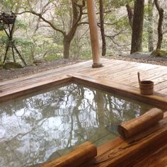 hot spring @ Hakone One day in the future this will be in my garden Outdoor Spaces, Outdoor Living, Japanese Hot Springs, Japanese Bath, Cabins In The Woods, Architecture, Swimming Pools, Beautiful Places, Backyard