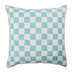 The Bonnie and Neil Small Checkers Aqua 50cm cushion features original artwork by Bonnie hand screen printed on white linen. The reverse of the cushion features the same design printed on oat linen. #cushion #cushions #bonnieandneil #nochintz #softfurnishings #textiles #interior #interiordecorating