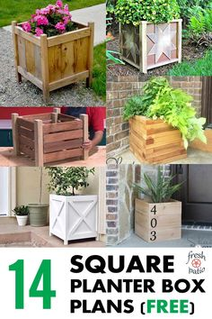 easy woodworking projects Best selection of free woodworking DIY plans for building a square planter box. Square planters for every style and taste. Easy, simple and all beautiful. Woodworking Projects That Sell, Popular Woodworking, Diy Wood Projects, Woodworking Crafts, Woodworking Plans, Woodworking Classes, Woodworking Furniture, Woodworking Joints, Custom Woodworking