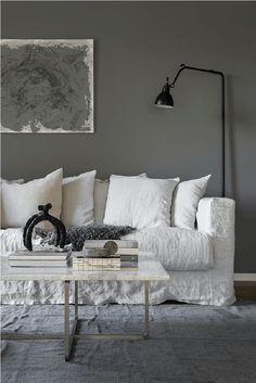 Salon scandinave douillet en camaïeu de gris