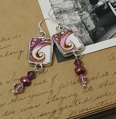 soldered broken china pendants | Broken China Raspberry Swirls Earrings | Flickr - Photo Sharing!