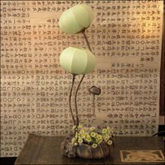 Paper Lamp Shade with Two Green Windflower Bud Lantern Lights