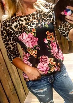 #BFCM #CyberMonday #Fairy Season - #Floral Floral Splicing Leopard Printed T-Shirt without Necklace - AdoreWe.com