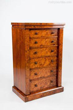 Exceptional Antique Burr Walnut Wellington Chest - Antiques Atlas