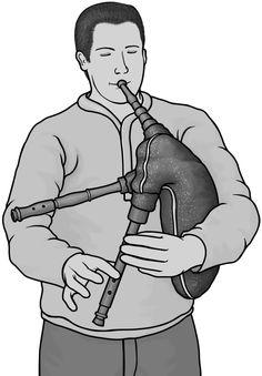 Grayscale images / sackpipa  Swedish bagpipes #bagpipes
