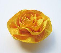 Yellow Ribbon Flower Baby Girl Hair Clip Newborn by ZNextDesigns, $4.00