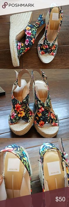 dolce vita Sovay wedge floral wedge with adjustable strap Dolce Vita Shoes Wedges
