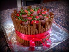 Birthday Cake chocolate covered strawberries and piroulines