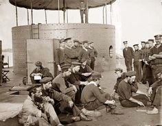 James River, Virginia Sailors relaxing on deck of U.S.S. Monitor. It was made in 1862 by Gibson, James F., b. 1828.