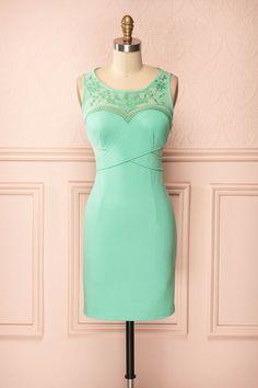 Jela - Aqua mesh and lace details dress