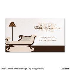 Design de interiores exótico do girafa: Cartões de Cartão De Visita