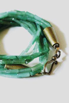 Chunky Green aventurine 23 necklace 5 strands by HavenHummingbird, $39.00