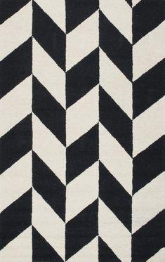 Rummel Hand-Tufted Black/White Indoor Area Rug
