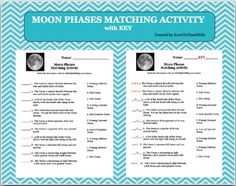 This resource can be used as a quiz, test, or activity while teaching the phases of the moon.Greater understanding for students is the goal of this activity.You will receive this file in Word form that can be edited to fit your specific needs.SAVE $$$ and purchase the BUNDLE for Moon Phases (9 activities)BUNDLE Moon Phases Pack of 9 Activities