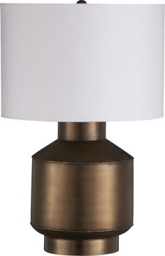 "Grant Table Lamp steel with brass finish. 14"" dia. x 21.25""H for sofa table $155"