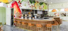Jamba Juice's recently opened Innovation Bar in Pasadena, California showcases a fresh new design notion completed by Bestor Architecture, 1 that combines Bar Interior Design, Beautiful Interior Design, Cafe Design, Interior Designing, Design Design, Modern Design, Jamba Juice, Restaurant Design, Restaurant Bar