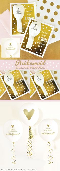 Will you be my bridesmaid balloon cards are a perfect way to POP the question to your bridesmaid or maid of honor!  by Mod Party