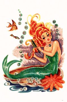 vintage mermaid decal