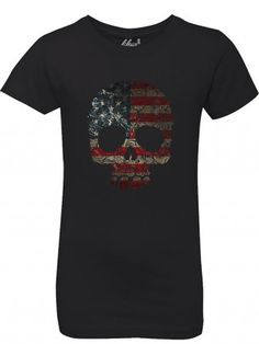 "Girl's ""Floral Skull"" Tee by Fifty5 Clothing (Black)"