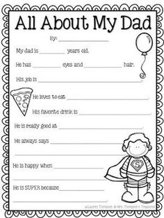 Free Father's Day Activity - All About My Dad Father's Day is a great time to celebrate and honor the special men in students' lives! With this cute questionnaire students can answer questions about their dad uncle or grandpa and give it to them as a cute keepsake! If you will be out of school by Father's Day send it home for students to complete over the summer! Get the FREE download on my blog HERE! craftivity Father's Day father's day activities gifts for dad Mrs. Thompson's Treasures