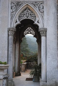 Garden arches and forest beyond