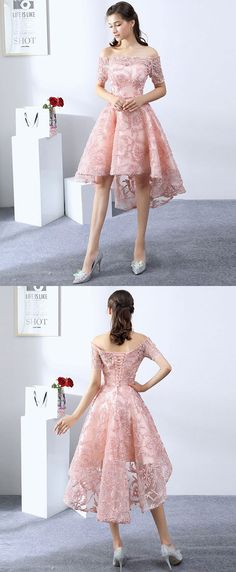pink high low prom dress, cute evening dress