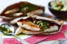 Wholemeal pitta stuffed with chicken goujons and tomato salsa - Tesco Real Food