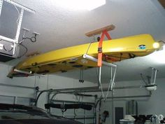 Sharing this in case anybody else needs an idea on how to build a storage rack for your kayaks. Enticing Cheap and Easy Way to Build the Best Kayak Storage Rack Ideas. Kayak Storage Rack, Kayak Rack, Boat Storage, Storage Ideas, Kayak Hanger, Garage Ceiling Storage, Kayaking Tips, Kayak Accessories, Kayak Boats