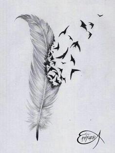 Feathers and birds tattoo idea