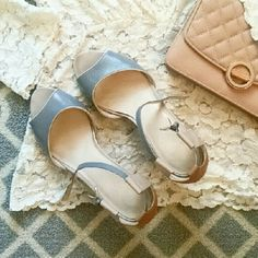 "Nine West Sandals, Blush & Grey Nine West sandals with ankle strap, tiny gold buckle and tan heel measuring 2"". In very good condition with no visible signs of wear on the surface of shoe. Some fading in toe box that won't be seen when worn. Nine West Shoes Sandals"