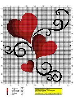 Hearts cross-stitch.