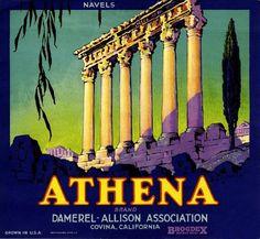 Covina Athena Orange Citrus Crate Label Art Print