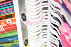 Shared room tip! Hang clothing by size to keep your children's closet organized.