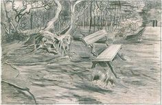 Vincent van Gogh: Bench in a Wood. Drawing -  Pencil, pen, brown ink.  The Hague: September, 1882 Location unknown