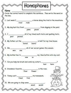 Free Homonyms Worksheets For 2nd Grade #1
