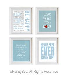 Light blue grey wall art, postive words, inspiring quotes, motivational set of 4 art prints, room decor, housewares, office decor. $39.00, via Etsy.