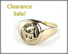 CLEARANCE SALE, Horse Ring, Signet ring, Horse Imprint, 14K Gold plated Seal ring, Unisex ring - Men's Ring, Women's Ring, Statement ring
